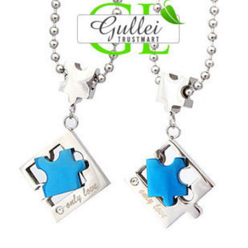 ONLY LOVE Stainless Steel Puzzle Couple Necklace - GULLEI.COM
