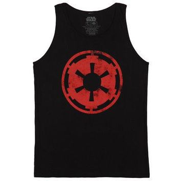 Star Wars Aging Galactic Empire Emblem Licensed Adult Muscle Tank - Black