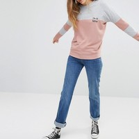 Daisy Street | Daisy Street Color Block Sweatshirt With Chin Up Embroidery at ASOS