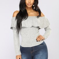 Chic And Sweet Top - Heather Grey