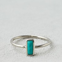AEO Women's Rectangle Turquoise Ring (Silver)
