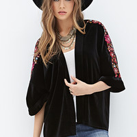 LOVE 21 Floral-Embroidered Velvet Kimono Black/Fuchsia