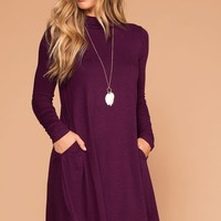 Randi Plum Swing Pocket Dress