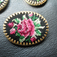 Petit Point Brooch Embroidered Jewelry  Cameo Brooch  Needlepoint Embroidered Tapestry RED ROSES on Black Silk Handmade Brooch 50s Shawl Pin