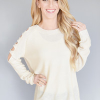 Crescent Moon Cutout Shoulder Sweater Ivory