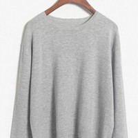 Solid Color Jewel Neck Loose-Fitting Sweater