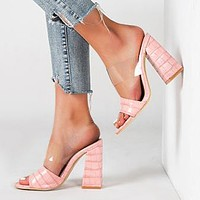 Fashion high heel sandals women 2020 summer women shoes open toe transparent women sandals and slippers pink