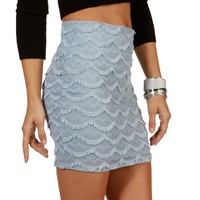 Sale-lt Blue Scallop Fringe Lace Skirt