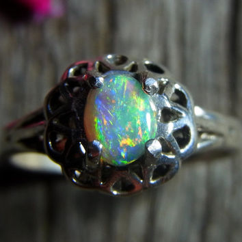 Stunning Bright Solid Sterling Silver Solid Opal Ring - Red Green Gold and blue stone from Lightning Ridge