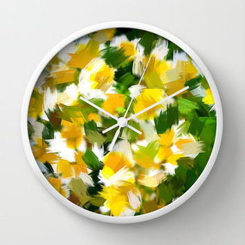 Modern Wall Clock with Original Yellow, Green and White Abstract Floral  Art Print