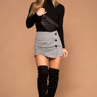 Sierra Black And White Plaid Button Skort