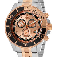Invicta Men's 13651 Pro Diver Chronograph Rose Gold Tone Dial Two Tone Stainless Steel Watch