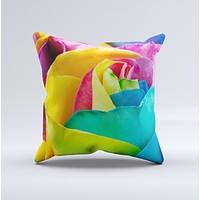 The Rainbow Dyed Rose V4 ink-Fuzed Decorative Throw Pillow
