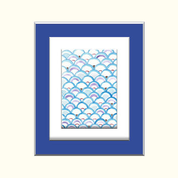 Original watercolor Painting - Whimsical Abstract Blue Waves Modern Watercolor Pattern