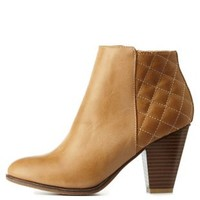 Stone Bamboo Quilted Chunky Heel Booties by