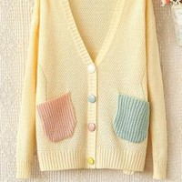 Candyhouse Wonders Pocketed Knit Cardigan in Beige | Sincerely Sweet Boutique