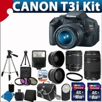 Canon EOS Rebel T3i 18 MP CMOS Digital SLR Camera USA warranty with canon EF-S 18-55mm f/3.5-5.6 IS [Image Stabilizer] II Zoom Lens & EF 75-300mm f/4-5.6 III Telephoto Zoom Lens + 58mm 2x Professional Lens +High Definition 58mm Wide Angle Lens + Auto Power