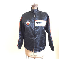 Vintage, 1980, Indianapolis Pace Car, MUSTANG, Black Racing Jacket, 1979 Indy 500, Satin Coat, Mens Size Small, Made in USA