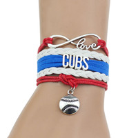 """""""CUBS""""Red+White+Blue Multi-Strands Infinity Silver Color Charm Leather Bracelet Bangle For Women Fashion Jewelry"""