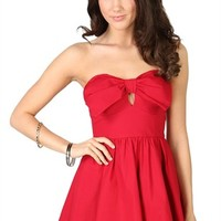 Strapless Dress with Bow Bodice and Circle Skirt