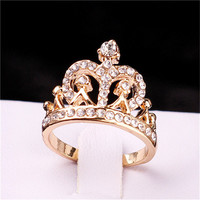 Gold Plated New design ring Crown Ring Party Rings for women