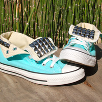 Aqua Blue Studded Hi Top Converse All Star Sneakers - Studded Chucks