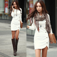 Women Fashion Bodycon Bandage Evening Cocktail Party Long Sleeve Pencil Dress