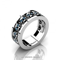 Mens Modern 14K White Gold Blue Topaz Skull Channel Cluster Wedding Ring R913-14KWGBT