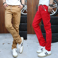 Drawstring Casual Pants With Leather Tab Accent