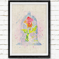 The Enchanted Rose Watercolor Art Print, Beauty and the Beast Home Decor, Baby Girl's Room Nursery Wall Art, Not Framed, Buy 2 Get 1 Free!
