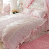 DIAIDI,Korean Style,Romantic Pink Bedding Sets,Princess Lace Ruffle Embroidery Comforter Sets,Luxury Wedding Bedding,Twin Queen King,4Pcs (TWIN)