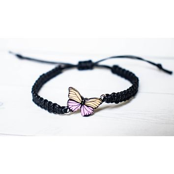 Peach and Pink Butterfly Bracelet