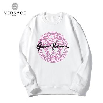 Versace autumn and winter new fashion loose cotton hooded sweater White
