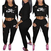 Print leisure cap sports suit