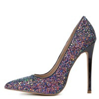 Women's Hyatt Close Toe Glitter Black Pump