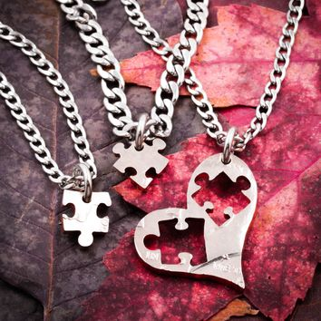 3 Pieces Of My Heart Necklaces, 3 Best Friends, Puzzle Pieces Cut From A Heart
