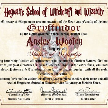 Gryffindor Personalized Harry Potter Diploma - Hogwarts School of Witchcraft and Wizardry Degree