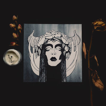 the dreamworker card • digital print art card - occult art - witch card - square blank card - witchcraft - antlers and flowers