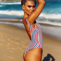Multicolor Striped One Piece Swimsuit