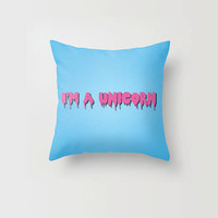 Throw Pillow I'm a unicorn Pastel Goth Creepy Cute Hot Pink Blue Case Decorative Pillow Cover Made to Order 16x16 18x18 20x20 Home Decor