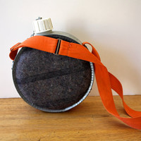 Vintage WOOL and Metal Camping Canteen by aniandrose on Etsy