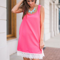 In Lace You Need Me Dress, Neon Pink