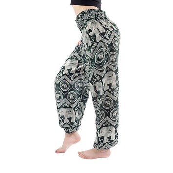 Dark Green Elephant Print Yoga Pants