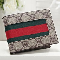 GG stitching color red and green stripes flip wallet clutch Bag #2