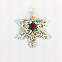 Paper Quilling Christmas Snowflake Pendant - quilled snowflake, Christmas jewelry, snowflake necklace, Christmas pendant, frozen necklace