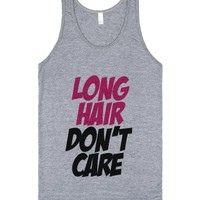 C - Long hair dont care (Pink)-Unisex Athletic Grey Tank