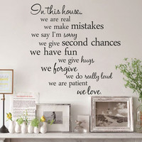 In This House Wall Quote PVC Wall Stickers Art Decals Removable Home Decor