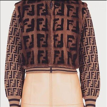 FENDI Classic Autumn Winter New Popular Women Personality Mohair F Jacquard Half High Collar Zipper Keep Warm Coat Cardigan Jacket
