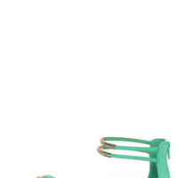 Bamboo Haile 01 Seafoam and Gold Strappy Gladiator Sandals