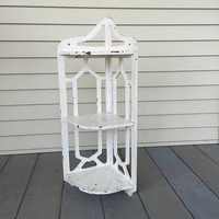 White Corner Shelf, Chippy Paint, Painted Wood Shelves, Shabby chic, Cottage Chic, Three Tiered Shelves, Wall mount, Cut outs, Vintage